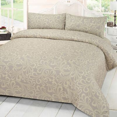 £13.99 • Buy Damask Print Quilt Duvet Cover With Pillowcase Bedding Set Single Double King