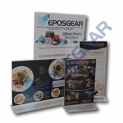 Acrylic Menu Holders Plastic Poster Leaflet Sign Display Stand A6 DL A5 A4 • 5.90£