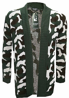New Womens Ladies Knitted Camouflage Military Army Print Long Cardigan 8 12 14 • 10.99£