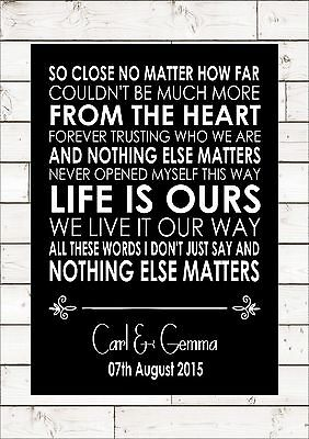 NOTHING ELSE MATTERS - METALLICA Wedding Anniversary Personalised First Dance  • 32£