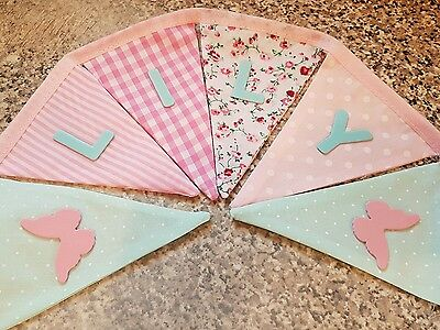 Personalised Butterfly Bunting- Mint & Pink Mix-any Name-£1 Per Flag, Free P&p • 1£