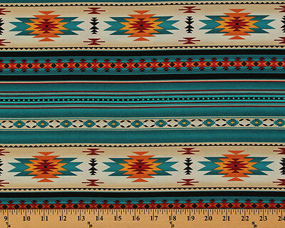 £8.69 • Buy Southwestern Aztec Tucson Turquoise Stripes Cotton Fabric Print By Yard D466.32