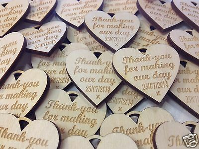 £25 • Buy Personalised 8cm XL   Wooden Engraved Hearts Wedding  Favours Rustic Natural