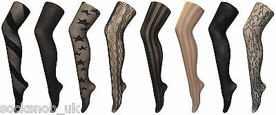 Women's Thin Fancy Patterned Semi Opaque Designer Tights 8-14 UK • 4.99£