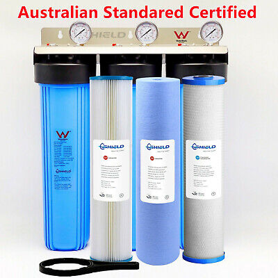 AU470.25 • Buy Whole House Water Filter System 20'' X 4.5'' Triple Big Blue 3 Stages + Gauge