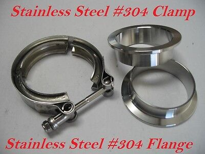 $ CDN25.03 • Buy 3  Inch Stainless Steel #304 V Band Vban Clamp W/2 Flange Turbo Exhaust Down Pip