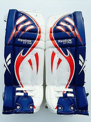 $299.99 • Buy Reebok Larceny Pro Goalie Leg Pads 30 +1 Red White Blue Int Hockey Goal Pad New