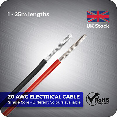 £3.39 • Buy 1 - 25 Metre 20 AWG Flexible Single Core Electrical Stranded Wire Cable DIY RC