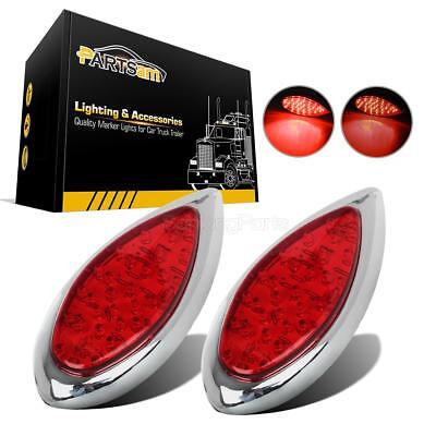 $30.48 • Buy 2xRed 35 LED Tear Drop Hot Rod Stop Turn Brake Tail Lights Chrome Bezels Utility