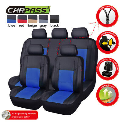 AU85.49 • Buy Universal Car Seat Covers Protector Leather Blue Split Rear Airbag Compatible