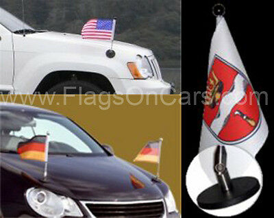 Pair Of Magnetic Diplomat Car Flag Pole With Flag • 240.54£
