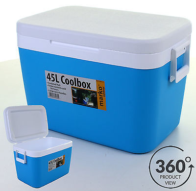45L Cool Box Portable Coolbox Insulated Cooler Ice Food Drinks Travel Camping • 49.99£