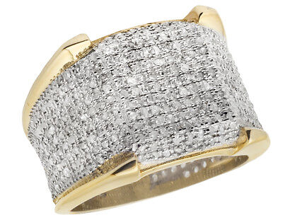$944.99 • Buy Men's 10K Yellow Gold Iced Real Diamond 3D Eternity Pinky 4 Prong Ring 1.50ct