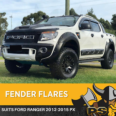 AU279 • Buy Jungle Flares Suit Ford Ranger 2011-2015 PX1 Guards 6 PC Matte Black Fender