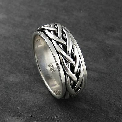 Interwoven Braid Spinning Band Ring - 925 Sterling Silver - Men's Sizes 7-12 NEW • 21.80£
