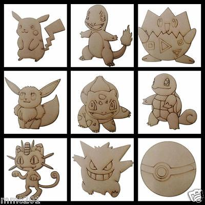 Wooden Pokemon Shapes / Characters, 100mm - 500mm, 4mm Thick, Pikachu, Pokeball • 3.30£