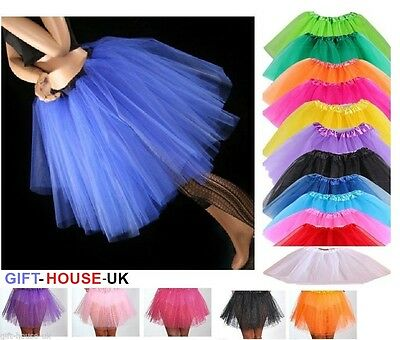Tutu Ladies Girls Kids Tutu Skirt Fancy Skirt Dress Up Party 3 Layers Halloween • 5.45£