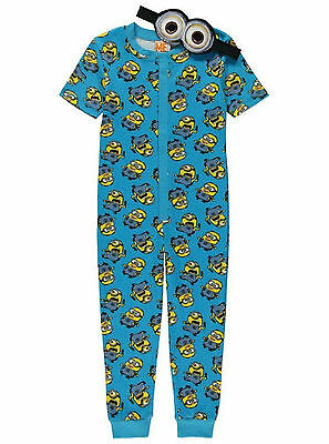 Boys Jump Suit Pyjamas Despicable Me Minions 2-14 Years Eye Mask Short Sleeved  • 9.95£