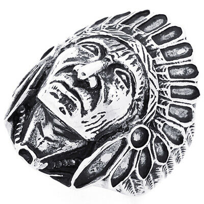 £14.49 • Buy Men's 30mm Stainless Steel 316L Ring Dark Black Color Head Of Indian Chief Band