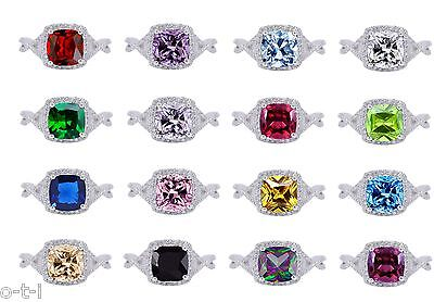 AU40.34 • Buy Princess / Cushion Cut Promise Infinity Celtic Birthstone Sterling Silver Ring