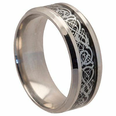 8mm Stainless Steel Mens Womens Wedding Band - Silver Celtic Ring Size J To Z+3 • 4.99£