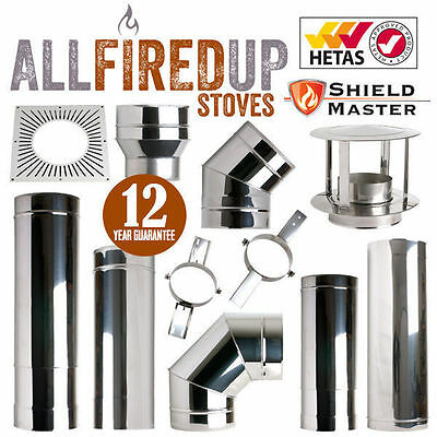 Shieldmaster Twin Wall Insulated Flue System Multifuel Flue Pipe Stainless Steel • 25.50£