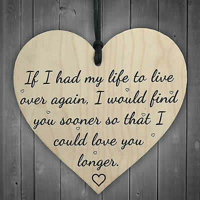 £3.99 • Buy Love You Longer Wooden Hanging Heart Shaped Plaque Anniversary Shabby Chic Sign