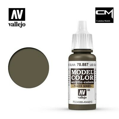 Vallejo Model Color US Olive Drab (Brown Violet) 70.887 (93) 17ml Acrylic Paint • 2.40£