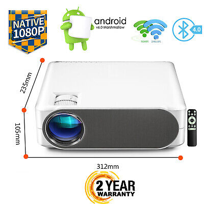 AU449.95 • Buy 6000Lumen Native 1080P Android 4K WiFi Outdoor Home Theatre LED Smart Projector
