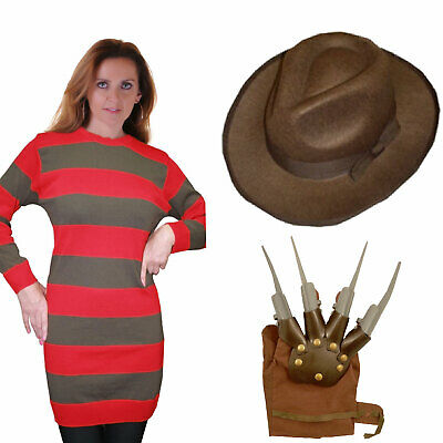 Kids Ladies Mens Red Green Jumper Hat Glove Freddy Style Halloween Fancy Dress  • 10.99£