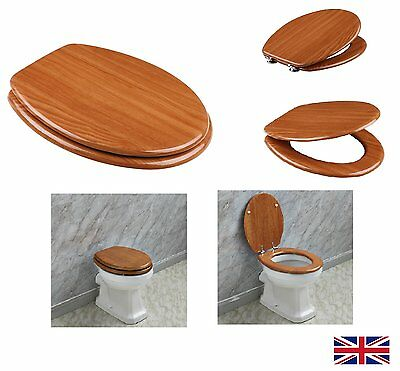 18  MDF UNIVERSAL Toilet Seat Light Walnut Wood Sit Tight Bathroom Chrome Hinges • 49.99£