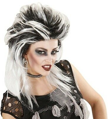 Ladies Black & White Zombie Punk Wig Monster Bride Halloween Scary Fancy Dress • 12.95£