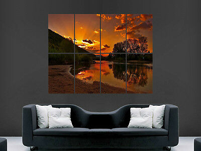 £17.99 • Buy Beautiful Sunset Riverbank  Large  Wall  Poster  Giant Huge