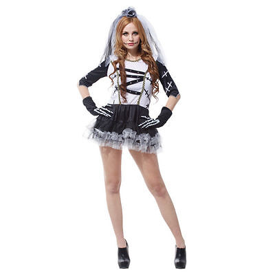 Adult Corpse Bride Skeleton Day Of The Dead Costume Halloween Fancy Dress 6-10 • 9.97£