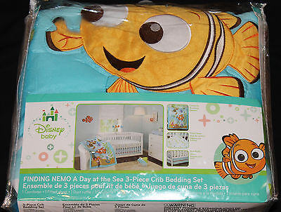 $44.99 • Buy Disney Baby Finding Nemo A Day At The Sea 3 Pc Nursery Crib Bedding Set New