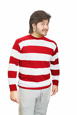 Unisex Red & White Stripe Knitted Jumper Christmas Red & White Striped Jumper • 15.99£