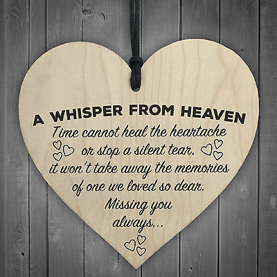 £3.99 • Buy A Whisper From Heaven Wooden Hanging Heart Memorial Plaque Shabby Chic Gift Sign