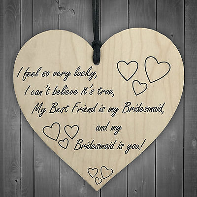 Best Friend Is My Bridesmaid Wooden Hanging Heart Wedding Plaque Thank You Gift • 3.99£