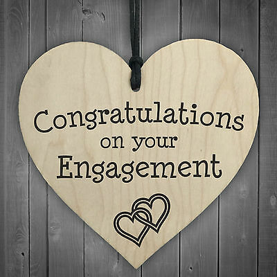 Congratulations On Your Engagement Wooden Hanging Heart Plaque Wedding Gift Sign • 3.99£