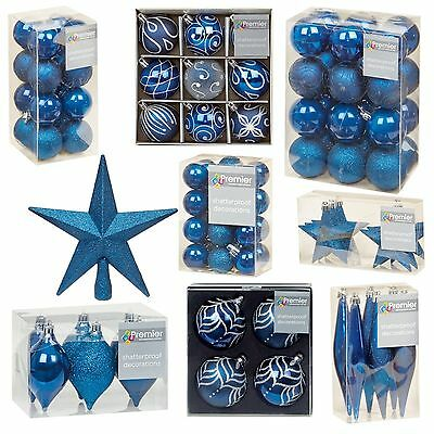 M Blue Collection Christmas Decorations Baubles Stars Cones Hearts Tree Topper • 8.99£
