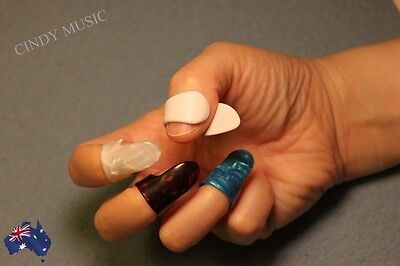 AU6.98 • Buy 1 Thumb + 3 Finger Nail Guitar Picks Plectrum Colorful Bass Banjo New