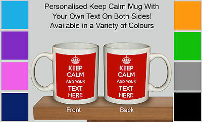 £7.99 • Buy Keep Calm And Carry On Personalised With Any Text Any Colour Gift Mug Cup Retro