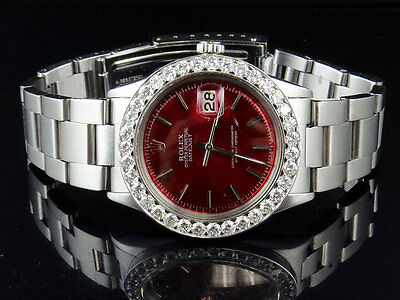 $ CDN9450.87 • Buy Mens Rolex Datejust Stainless Steel Oyster 36 MM Red Dial Diamond Watch 5.0 Ct