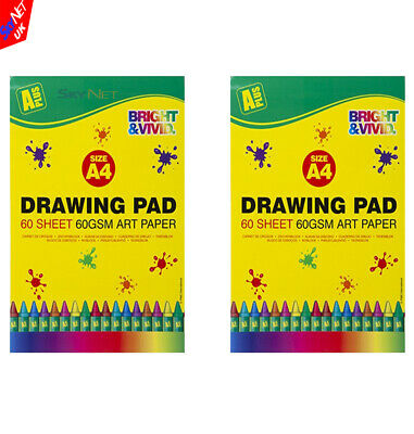 2x A4 ARTIST SKETCH DRAWING BOOKS PADS 60 SHEETS GREAT QUALITY • 4.95£