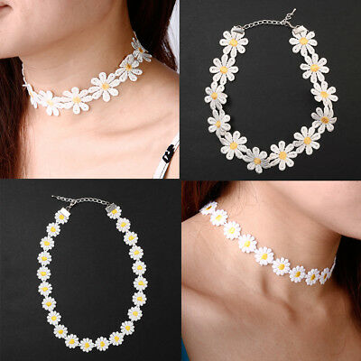 Vintage Retro Yellow & White Lace Daisy Flower Choker Necklace Chain • 1.49£