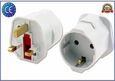 European Euro EU Schuko 2 Pin To UK 3 Pin Plug Adaptor Travel Mains Adapter  • 5.99£