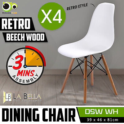 AU104 • Buy 4 X Retro Replica DSW Dining Chair Cafe Kitchen PP Beech White