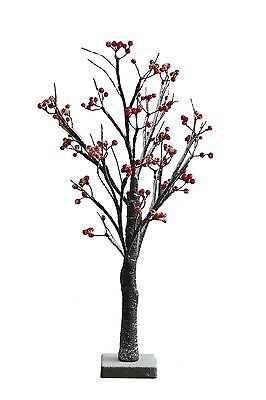 PRE- LIT Table Top Led Berry ,Snowy White Birch Tree With 24 LED  60cm Battery • 9.99£