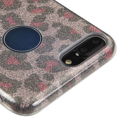 AU11.26 • Buy IPhone 7+/ 8+ PLUS - Pink Brown Leopard Glitter Shimmering TPU Rubber Case Cover