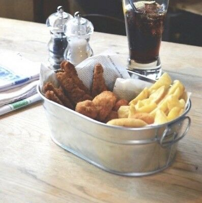 Galvanised Steel Chip Wedge Chicken Wings Serving Bucket 1500ml 53oz 23cm Long • 9.17£